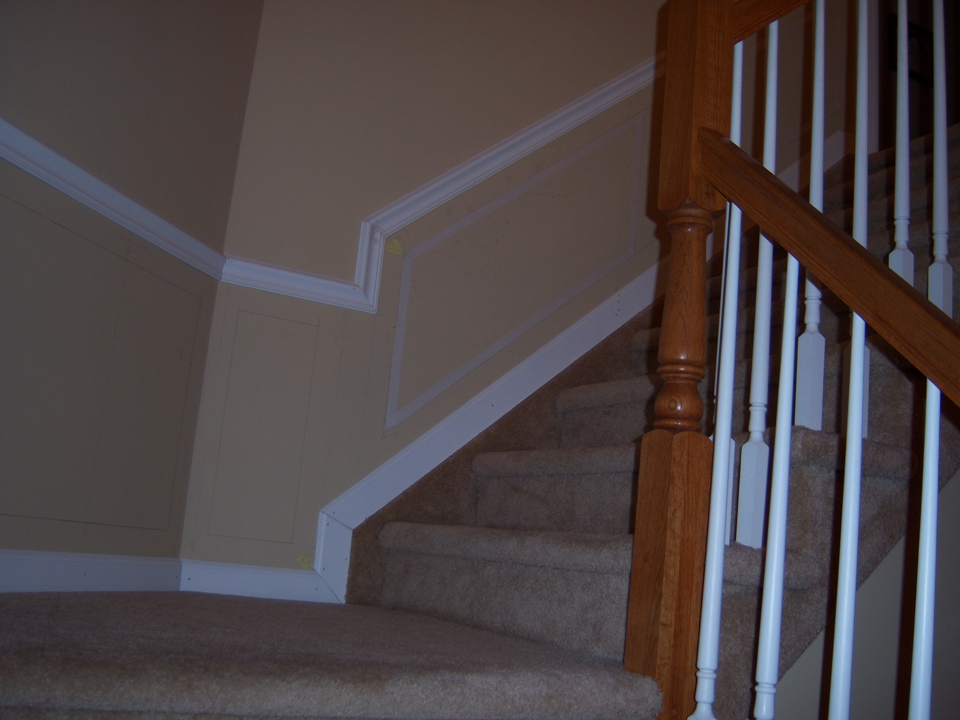 How to cut base molding in place - Stairway Chair Rail Base Molding Installation