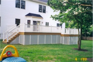 Backyard Composite Elevated Deck with Lattice