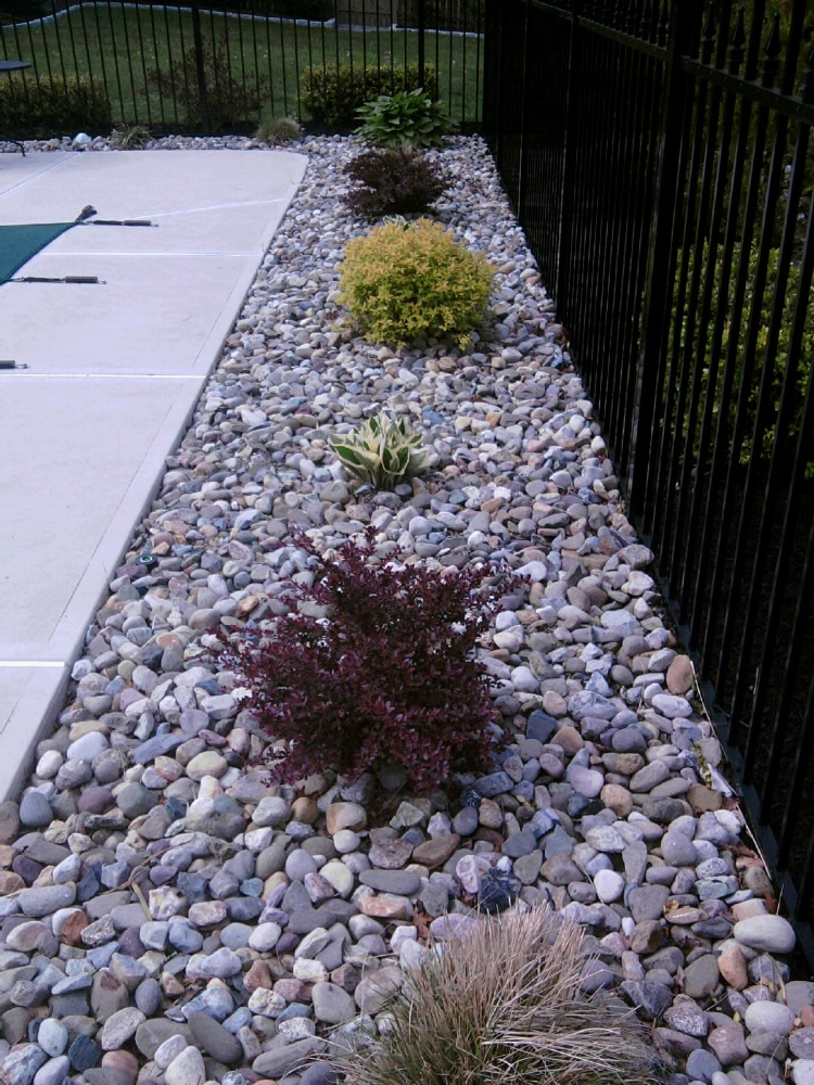 Riverstone front garden ideas photograph delaware river st for Different color rocks for landscaping