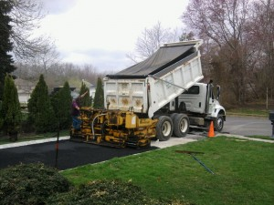Dump Truck and Asphalt Paving