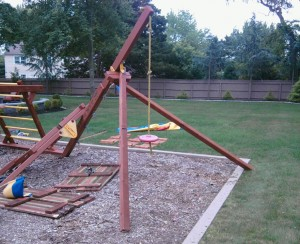 New Redwood Swing Set Legs