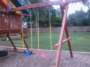 Redwood Swing Set - New Swings