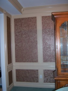 Dining Room Shadow Boxes with Wallpaper