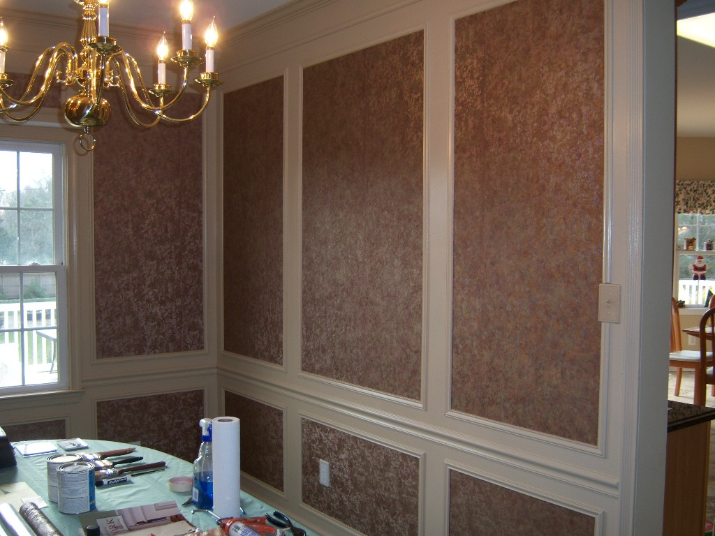 Dining Work Trim Design With Wall Paper Finish