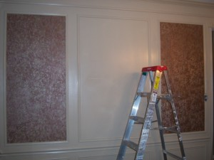 Wallpapering within the Dining Room Shadow Boxes