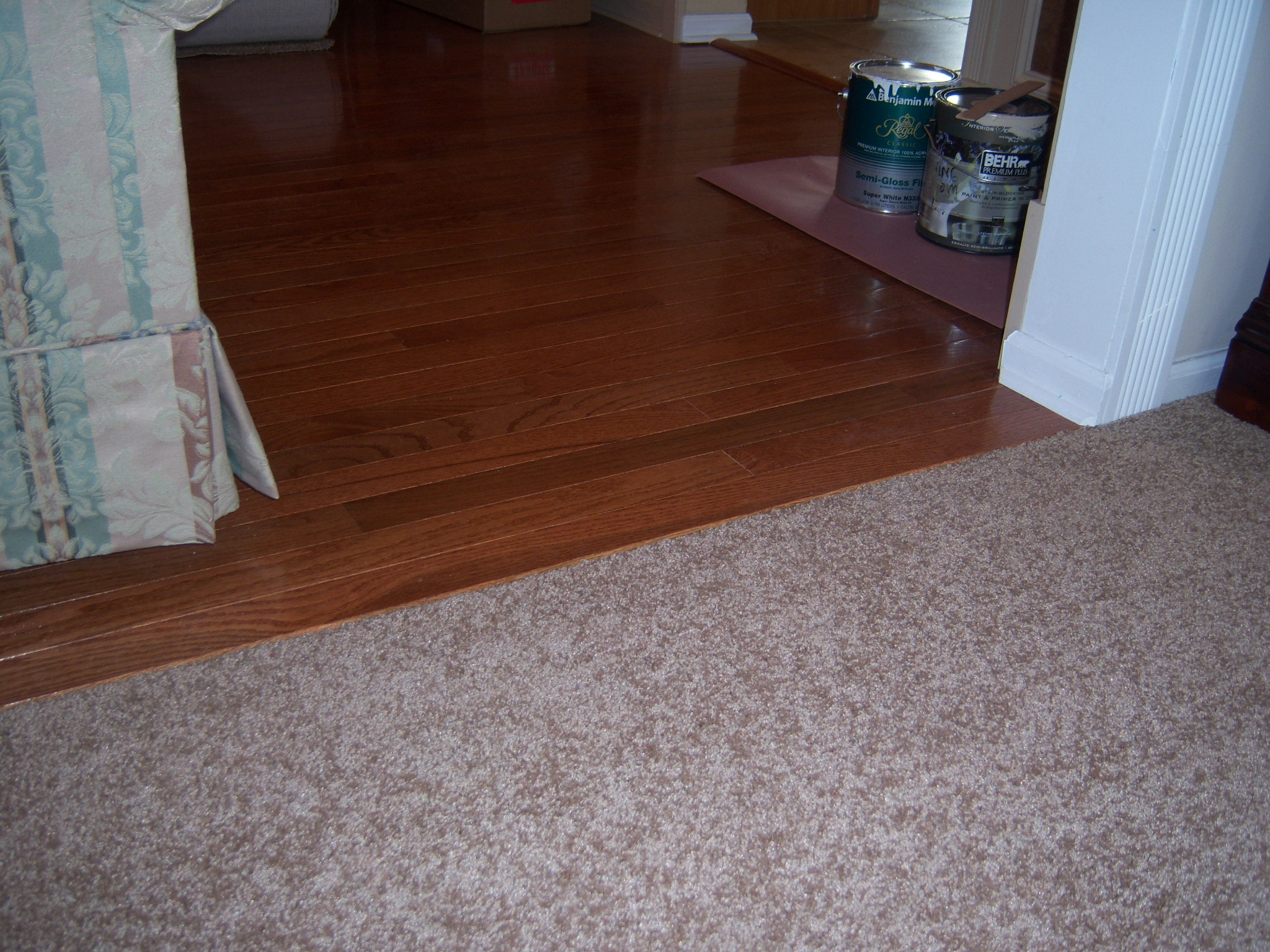 Hardwood floor installation and trim work all about the house custom carpet to hardwood transition dailygadgetfo Choice Image
