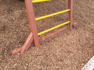 Redwood Play Set Footers and Mulch