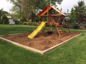 Redwood Play Set Mulch Installation