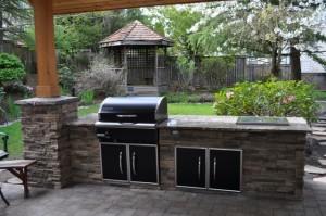 Outdoor Kitchen Design Cultured Stone Traeger BBQ Island