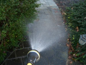 Light Spray on the Paver Walkway Polymer Jointing Sand