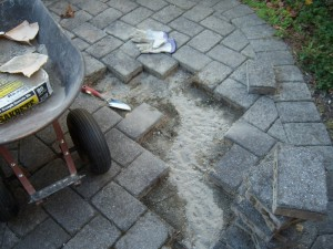 Replacing Walkway Pavers with Concrete Backfill