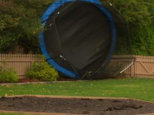 Hurricane Damaged Backyard Trampoline