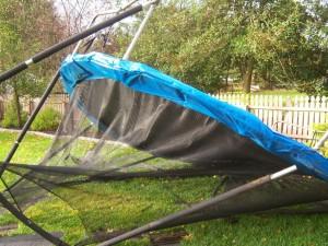 Hurricane Damaged Trampoline Cracked Frame