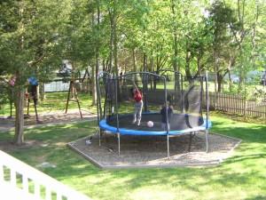 Original Trampoline in Backyard Mulch Area