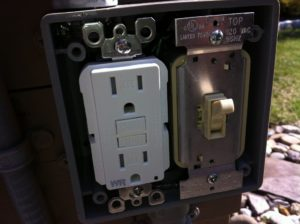 New GFI GFCI Outlet Seathed Near Pool Light Switch