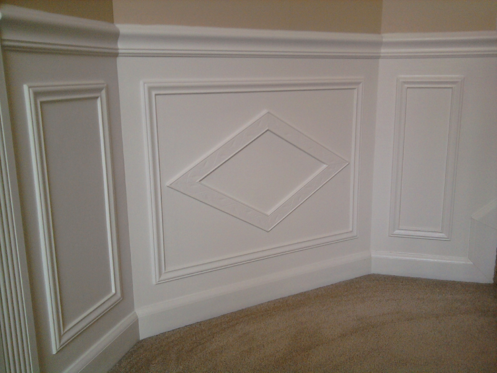 Hall and stairway trim work low maintenance shadow boxes for Decor moulding