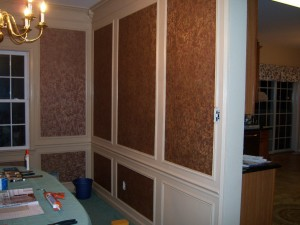 Dining Room Trim Work with Wallpaper in Shadow Boxes