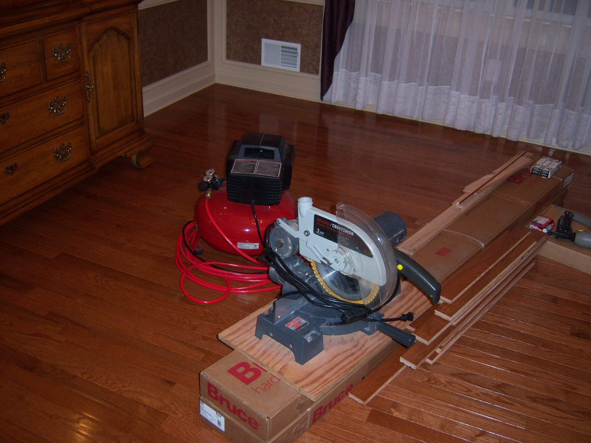 Miter Saw, Finish Nailer And Hardwood Flooring